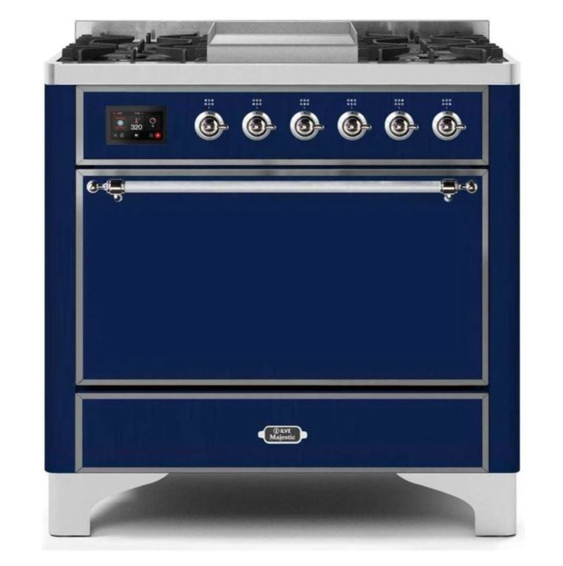 ILVE 36 Inch Majestic II Series Natural/ Propane Gas Burner and Electric Oven Range with 6 Sealed Burners (UM09FDQNS3) - Midnight Blue with Chrome Trim