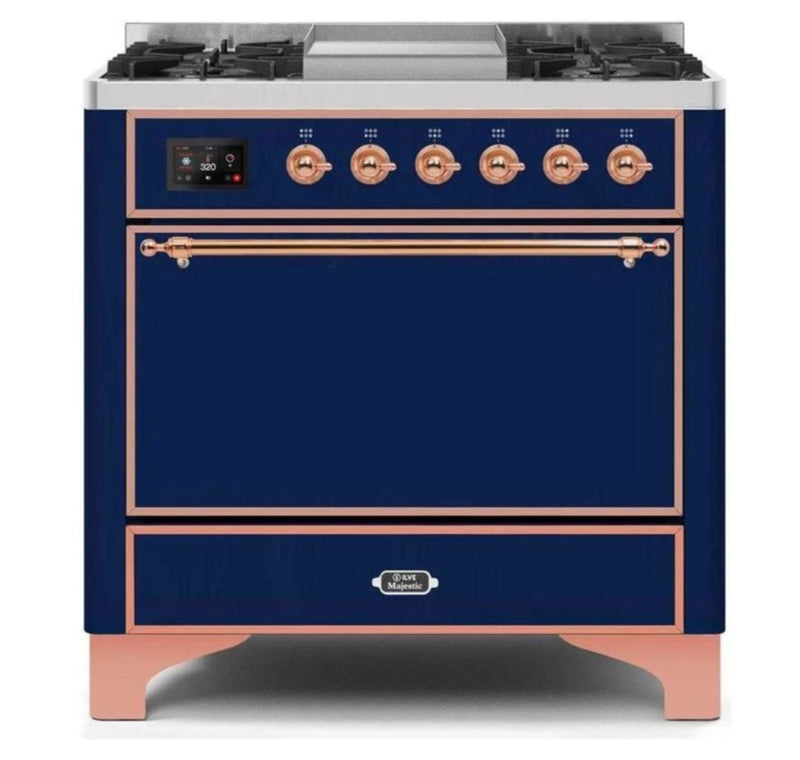 ILVE 36 Inch Majestic II Series Natural/ Propane Gas Burner and Electric Oven Range with 6 Sealed Burners (UM09FDQNS3) - Midnight Blue with Copper Trim