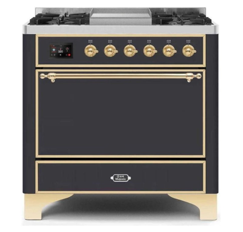 ILVE 36 Inch Majestic II Series Natural/ Propane Gas Burner and Electric Oven Range with 6 Sealed Burners (UM09FDQNS3) - Matte Graphite with Brass Trim