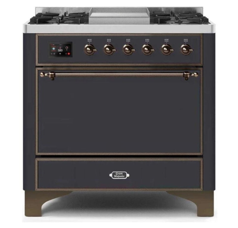 ILVE 36 Inch Majestic II Series Natural/ Propane Gas Burner and Electric Oven Range with 6 Sealed Burners (UM09FDQNS3) - Matte Graphite with Bronze Trim