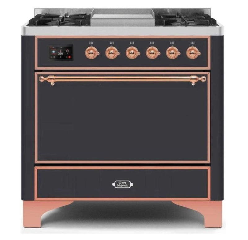 ILVE 36 Inch Majestic II Series Natural/ Propane Gas Burner and Electric Oven Range with 6 Sealed Burners (UM09FDQNS3) - Matte Graphite with Copper Trim