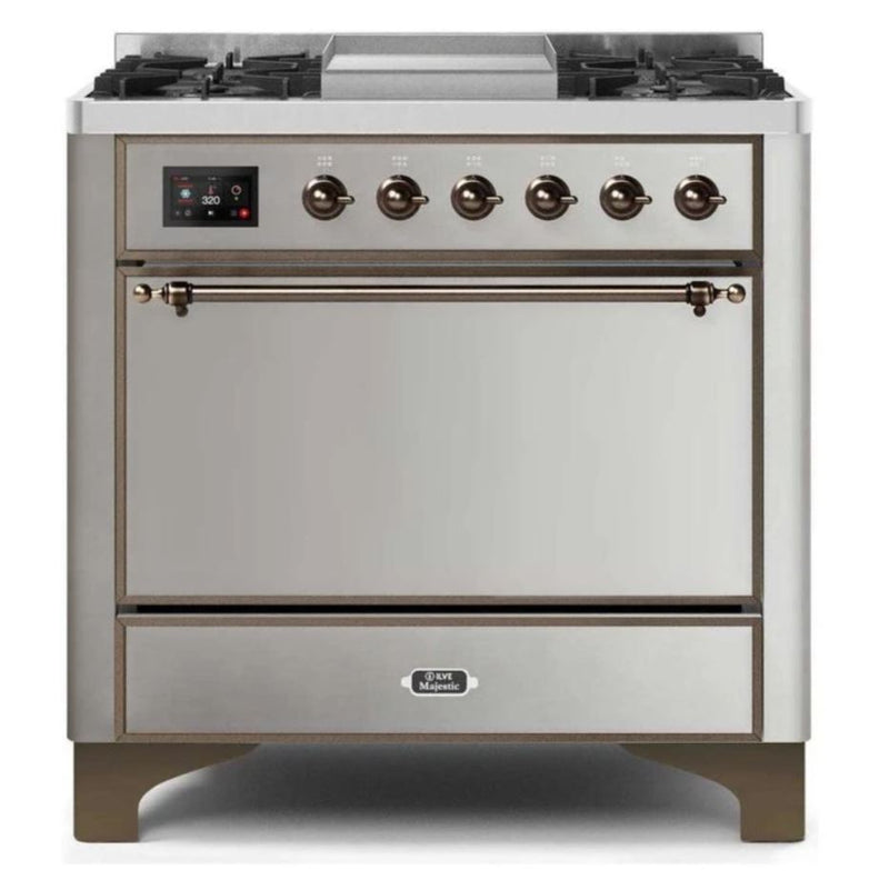ILVE 36 Inch Majestic II Series Natural/ Propane Gas Burner and Electric Oven Range with 6 Sealed Burners (UM09FDQNS3) - Stainless Steel with Bronze Trim