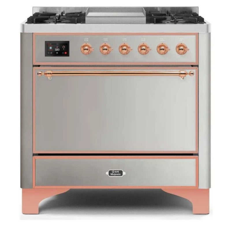 ILVE 36 Inch Majestic II Series Natural/ Propane Gas Burner and Electric Oven Range with 6 Sealed Burners (UM09FDQNS3) - Stainless Steel with Copper Trim