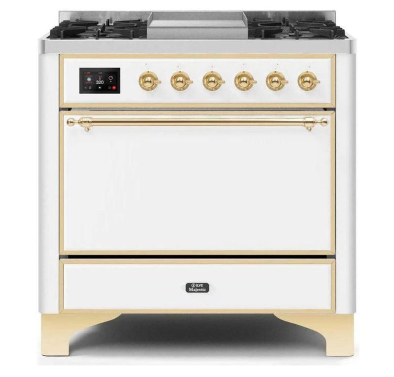 ILVE 36 Inch Majestic II Series Natural/ Propane Gas Burner and Electric Oven Range with 6 Sealed Burners (UM09FDQNS3) - White with Brass Trim