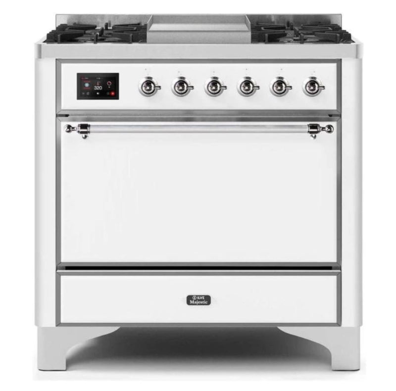 ILVE 36 Inch Majestic II Series Natural/ Propane Gas Burner and Electric Oven Range with 6 Sealed Burners (UM09FDQNS3) - White with Chrome Trim