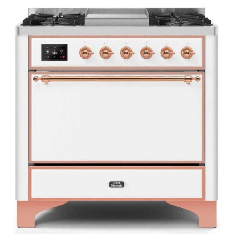 ILVE 36 Inch Majestic II Series Natural/ Propane Gas Burner and Electric Oven Range with 6 Sealed Burners (UM09FDQNS3) - White with Copper Trim