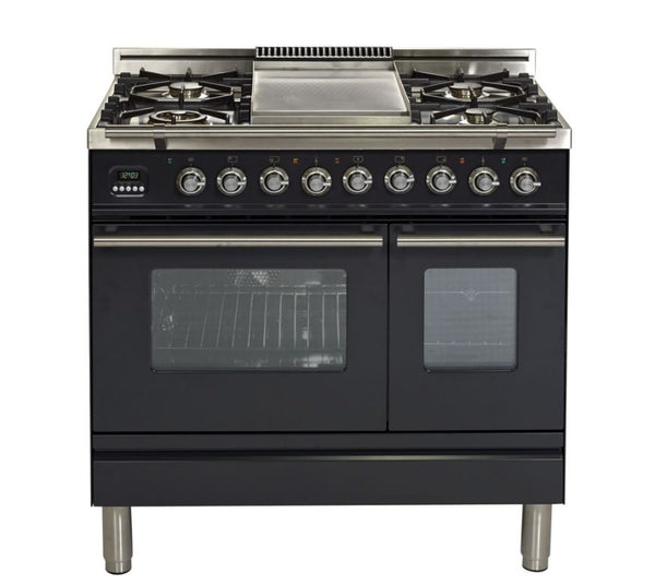 ILVE 36 Inch Professional Plus Series Freestanding Double Oven Dual Fuel Range with 5 Sealed Burners (UPDW90FDM) - Chrome Trim