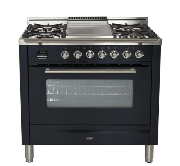 ILVE 36 Inch Professional Plus Series Freestanding Single Oven Dual Fuel Range with 5 Sealed Burners (UPW90FDM) - Chrome Trim