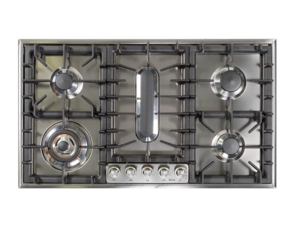 ILVE 36 Inch Stainless Steel Natural Gas/Propane Cooktop - UHP95FCI/UHP95FCILP