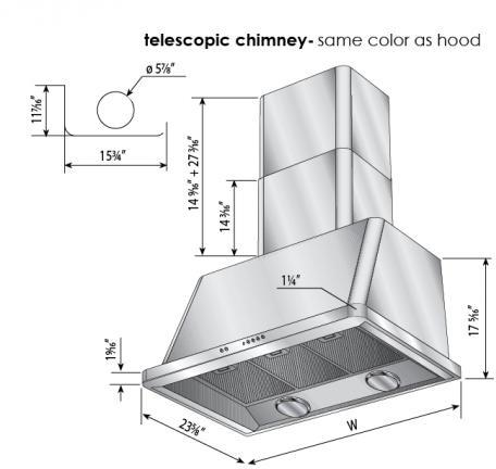 ILVE Majestic 36 Inch Wall Mount Convertible Hood Measurements