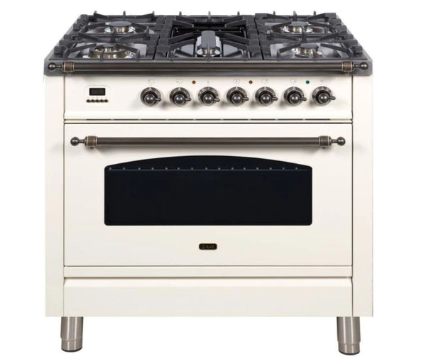 ILVE 36 Inch Nostalgie Series Freestanding Single Oven Dual Fuel Range with 5 Sealed Burners and Griddle (UPN90FDM)