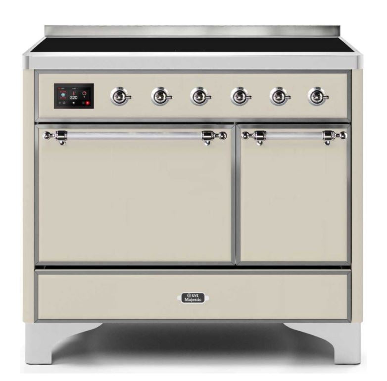ILVE 40 Inch Majestic II Series Induction Range with 6 Elements Dual Ovens TFT Control Display Solid Oven Door (UMDI10QNS3)
