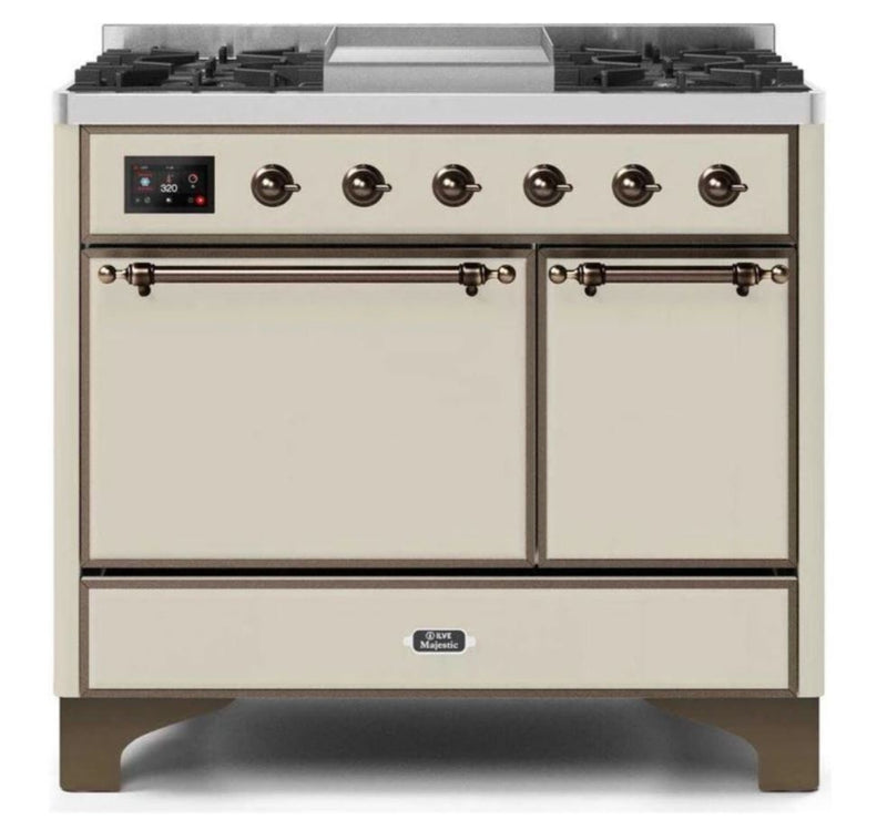 ILVE 40 Inch Majestic II Series Natural/ Propane Gas Burner and Electric Oven Range with 6 Sealed Burners (UMD10FDQNS3) - Antique White with Bronze Trim