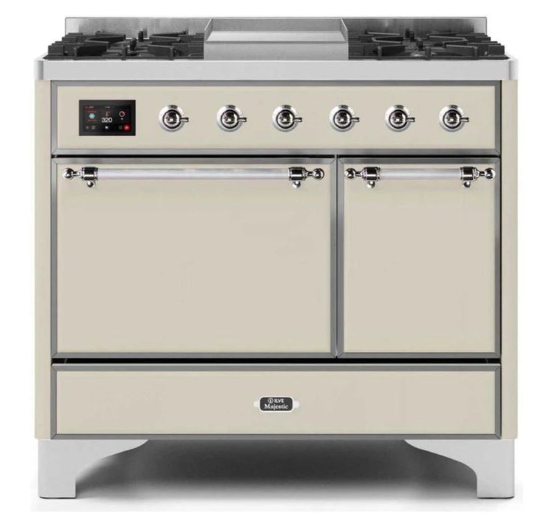 ILVE 40 Inch Majestic II Series Natural/ Propane Gas Burner and Electric Oven Range with 6 Sealed Burners (UMD10FDQNS3) - Antique White with Chrome Trim