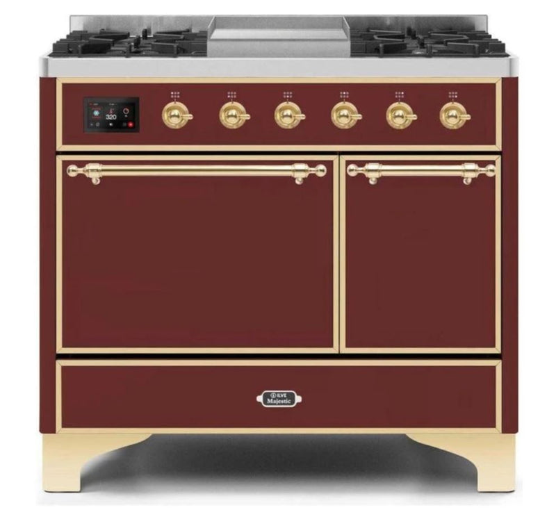 ILVE 40 Inch Majestic II Series Natural/ Propane Gas Burner and Electric Oven Range with 6 Sealed Burners (UMD10FDQNS3) - Burgundy with Brass Trim