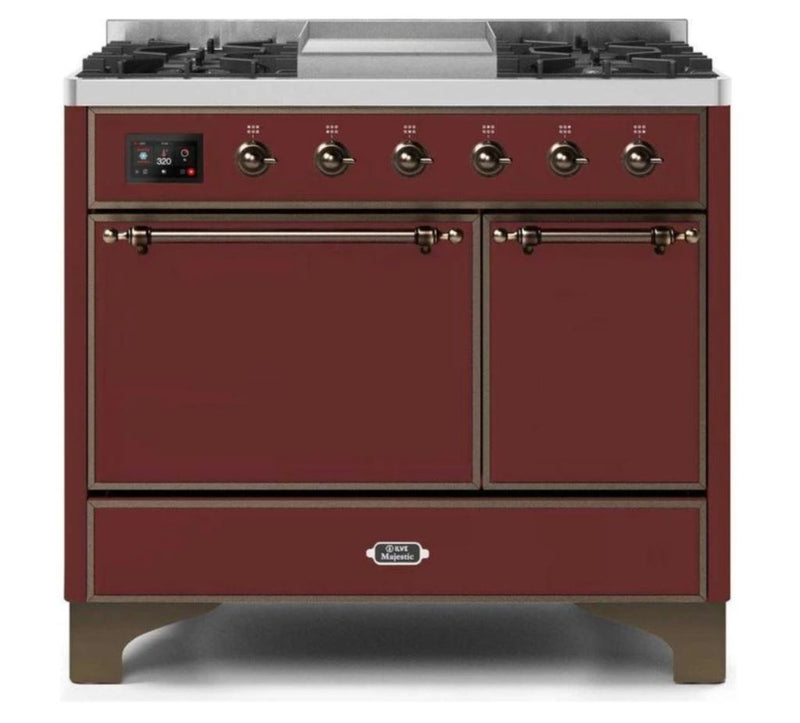ILVE 40 Inch Majestic II Series Natural/ Propane Gas Burner and Electric Oven Range with 6 Sealed Burners (UMD10FDQNS3) - Burgundy with Bronze Trim