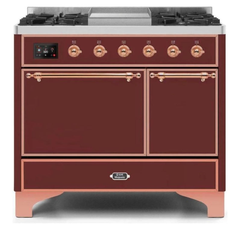 ILVE 40 Inch Majestic II Series Natural/ Propane Gas Burner and Electric Oven Range with 6 Sealed Burners (UMD10FDQNS3) - Burgundy with Copper Trim
