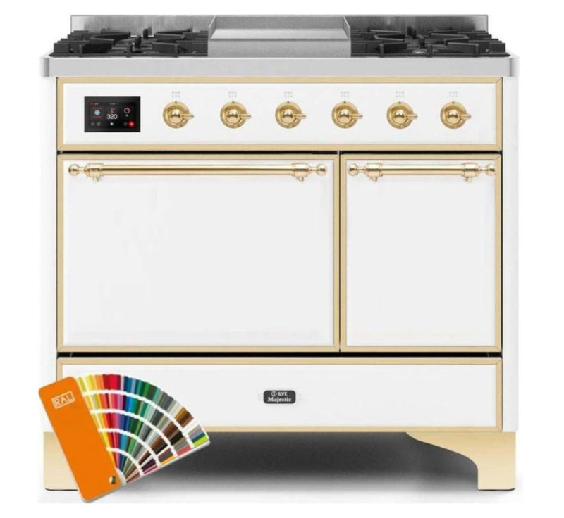 ILVE 40 Inch Majestic II Series Natural/ Propane Gas Burner and Electric Oven Range with 6 Sealed Burners (UMD10FDQNS3) - Custom RAL Color with Brass Trim