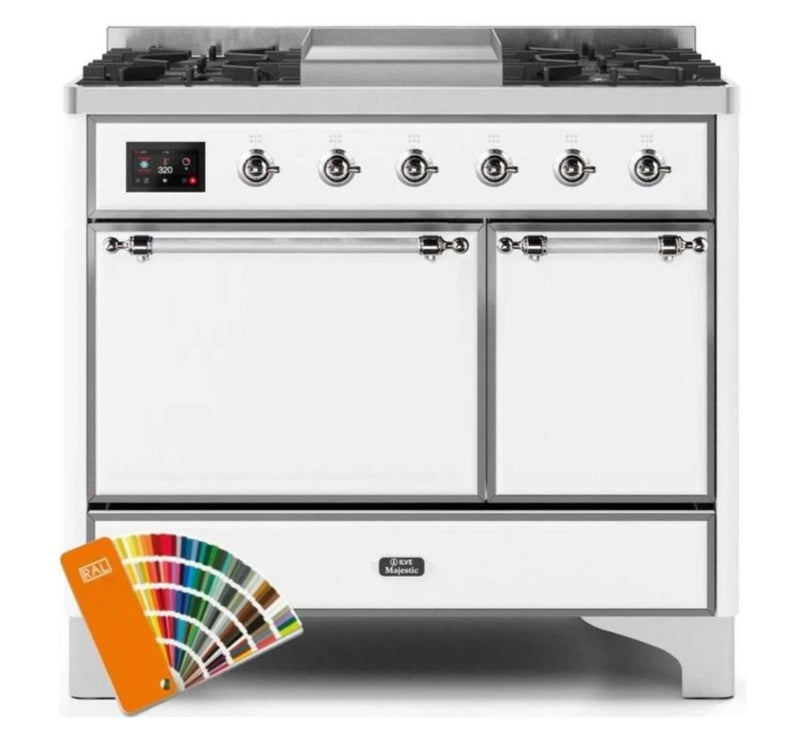 ILVE 40 Inch Majestic II Series Natural/ Propane Gas Burner and Electric Oven Range with 6 Sealed Burners (UMD10FDQNS3) - Custom RAL Color with Chrome Trim