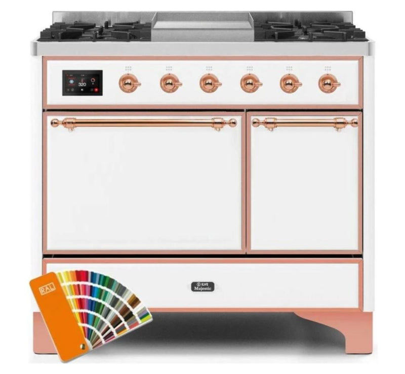ILVE 40 Inch Majestic II Series Natural/ Propane Gas Burner and Electric Oven Range with 6 Sealed Burners (UMD10FDQNS3) - Custom RAL Color with Copper Trim