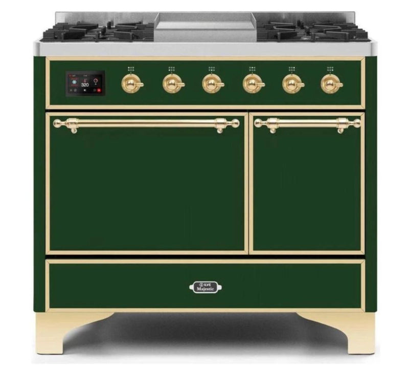 ILVE 40 Inch Majestic II Series Natural/ Propane Gas Burner and Electric Oven Range with 6 Sealed Burners (UMD10FDQNS3) - Emerald Green with Brass Trim