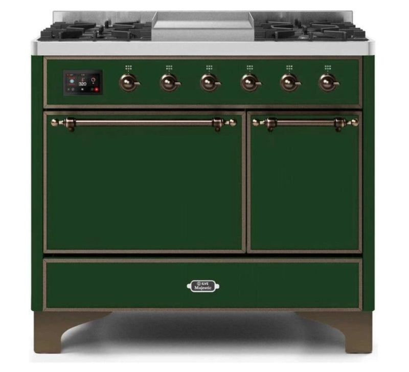 ILVE 40 Inch Majestic II Series Natural/ Propane Gas Burner and Electric Oven Range with 6 Sealed Burners (UMD10FDQNS3) - Emerald Green with Bronze Trim