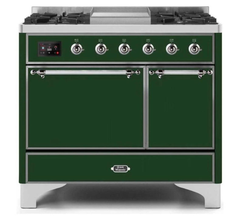 ILVE 40 Inch Majestic II Series Natural/ Propane Gas Burner and Electric Oven Range with 6 Sealed Burners (UMD10FDQNS3) - Emerald Green with Chrome Trim