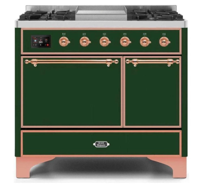 ILVE 40 Inch Majestic II Series Natural/ Propane Gas Burner and Electric Oven Range with 6 Sealed Burners (UMD10FDQNS3) - Emerald Green with Copper Trim
