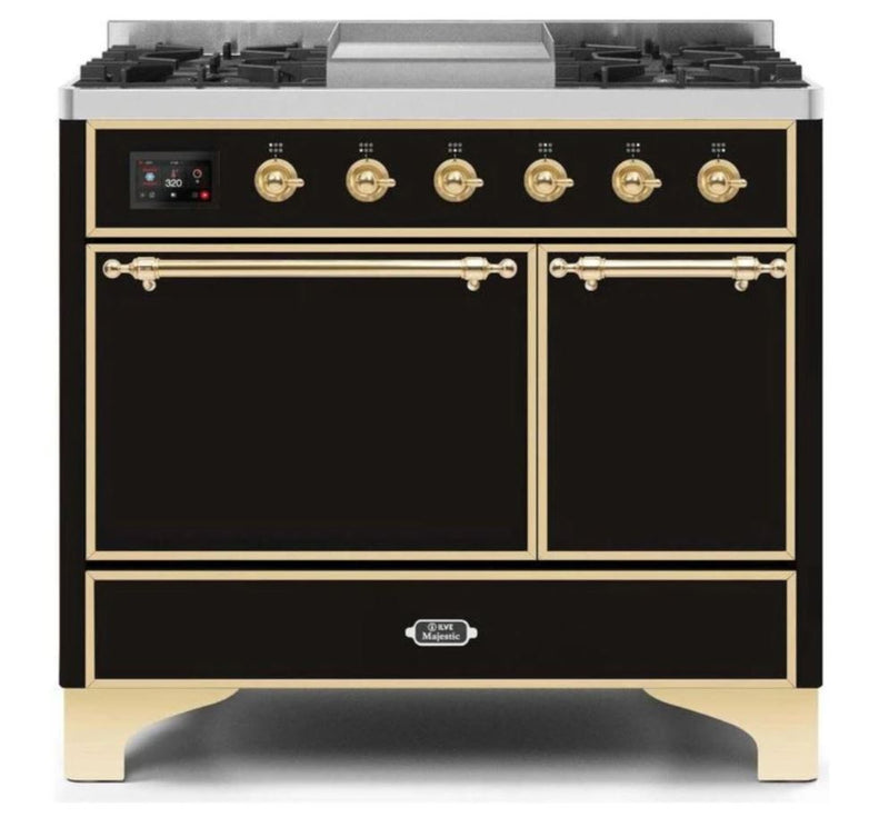 ILVE 40 Inch Majestic II Series Natural/ Propane Gas Burner and Electric Oven Range with 6 Sealed Burners (UMD10FDQNS3) - Glossy Black with Brass Trim