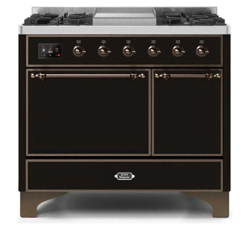 ILVE 40 Inch Majestic II Series Natural/ Propane Gas Burner and Electric Oven Range with 6 Sealed Burners (UMD10FDQNS3) - Glossy Black with Bronze Trim