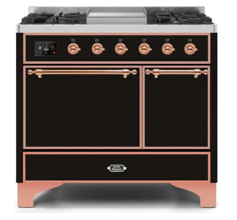ILVE 40 Inch Majestic II Series Natural/ Propane Gas Burner and Electric Oven Range with 6 Sealed Burners (UMD10FDQNS3) - Glossy Black with Copper Trim