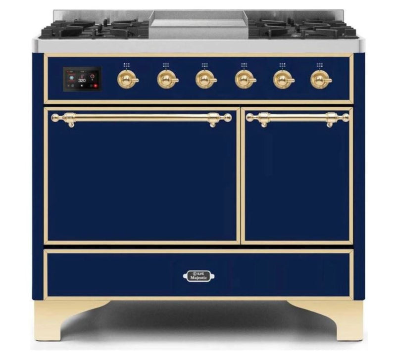 ILVE 40 Inch Majestic II Series Natural/ Propane Gas Burner and Electric Oven Range with 6 Sealed Burners (UMD10FDQNS3) - Midnight Blue with Brass Trim