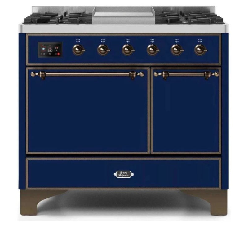 ILVE 40 Inch Majestic II Series Natural/ Propane Gas Burner and Electric Oven Range with 6 Sealed Burners (UMD10FDQNS3) - Midnight Blue with Bronze Trim