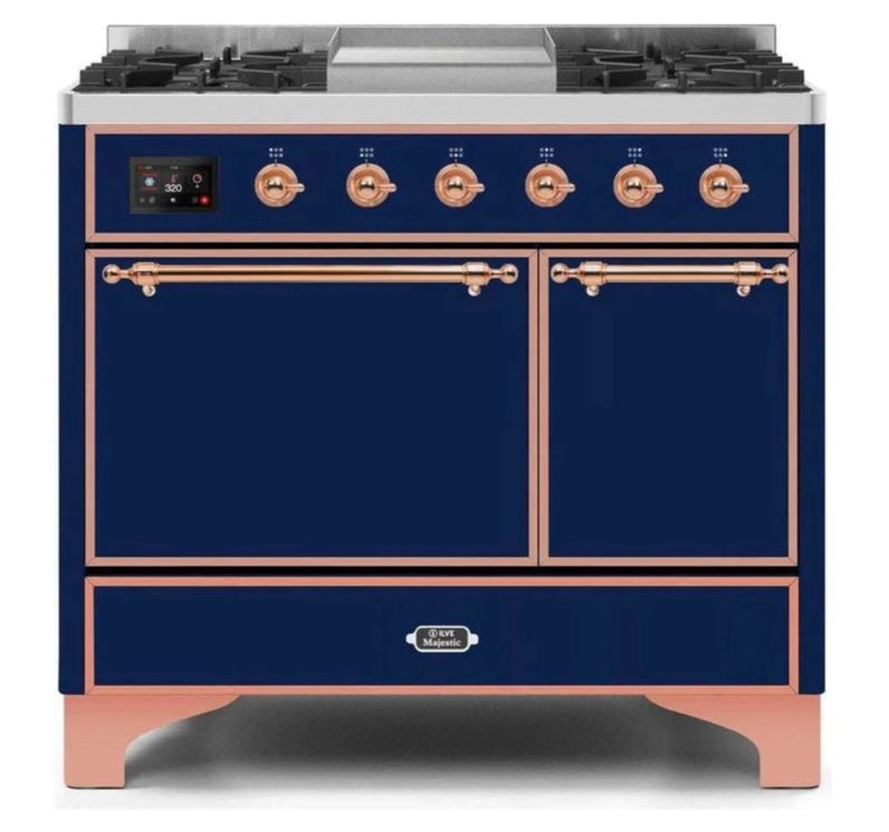 ILVE 40 Inch Majestic II Series Natural/ Propane Gas Burner and Electric Oven Range with 6 Sealed Burners (UMD10FDQNS3) - Midnight Blue with Copper Trim