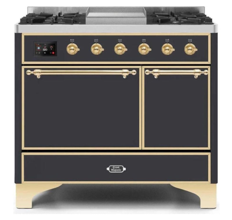 ILVE 40 Inch Majestic II Series Natural/ Propane Gas Burner and Electric Oven Range with 6 Sealed Burners (UMD10FDQNS3) - Matte Graphite with Brass Trim