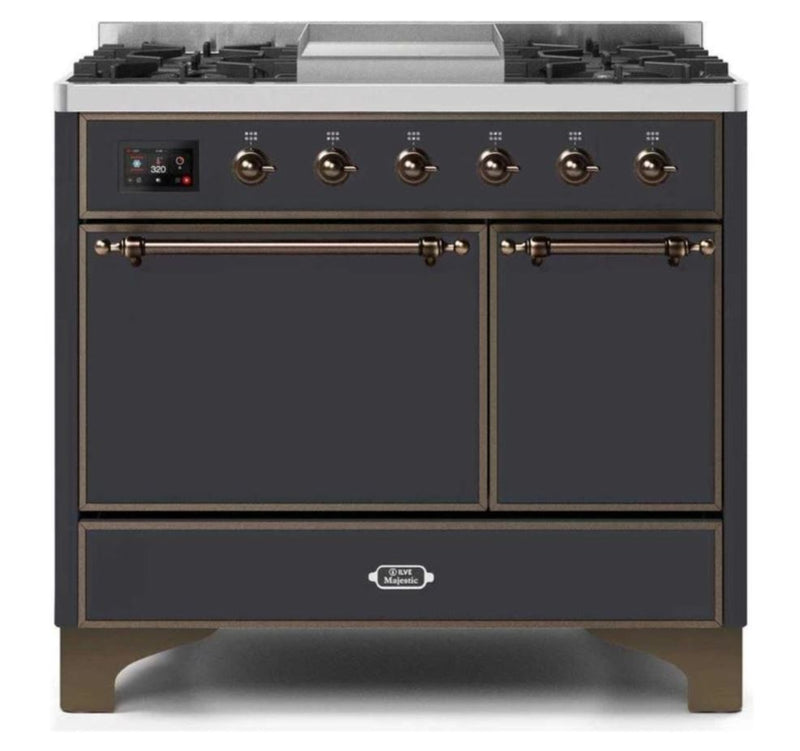 ILVE 40 Inch Majestic II Series Natural/ Propane Gas Burner and Electric Oven Range with 6 Sealed Burners (UMD10FDQNS3) - Matte Graphite with Bronze Trim