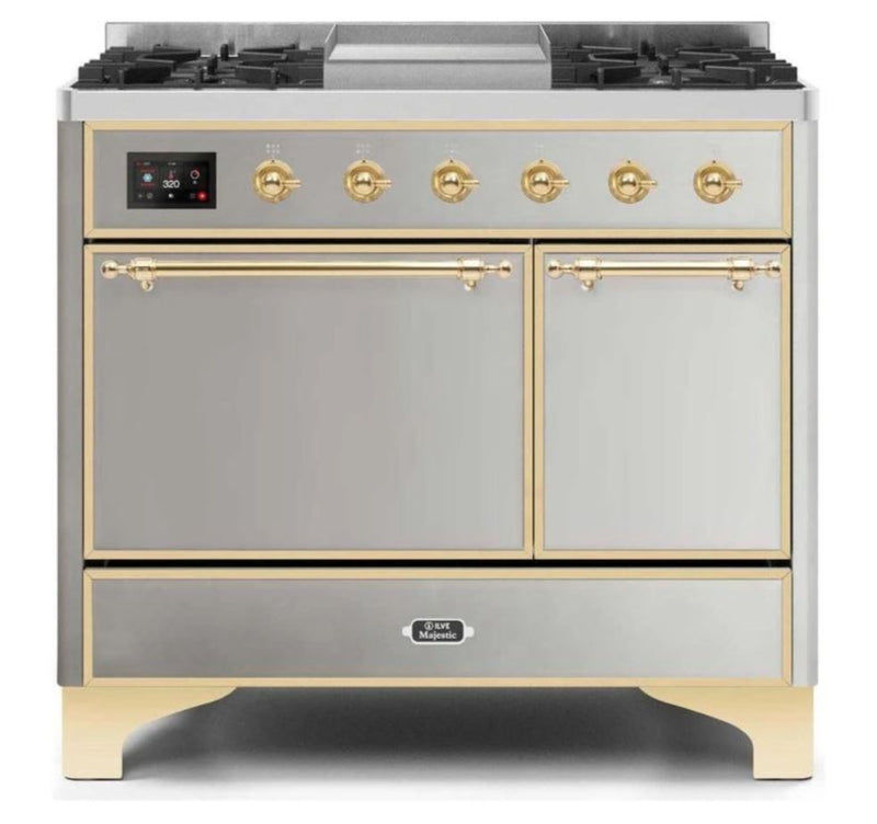 ILVE 40 Inch Majestic II Series Natural/ Propane Gas Burner and Electric Oven Range with 6 Sealed Burners (UMD10FDQNS3) - Stainless Steel with Brass Trim