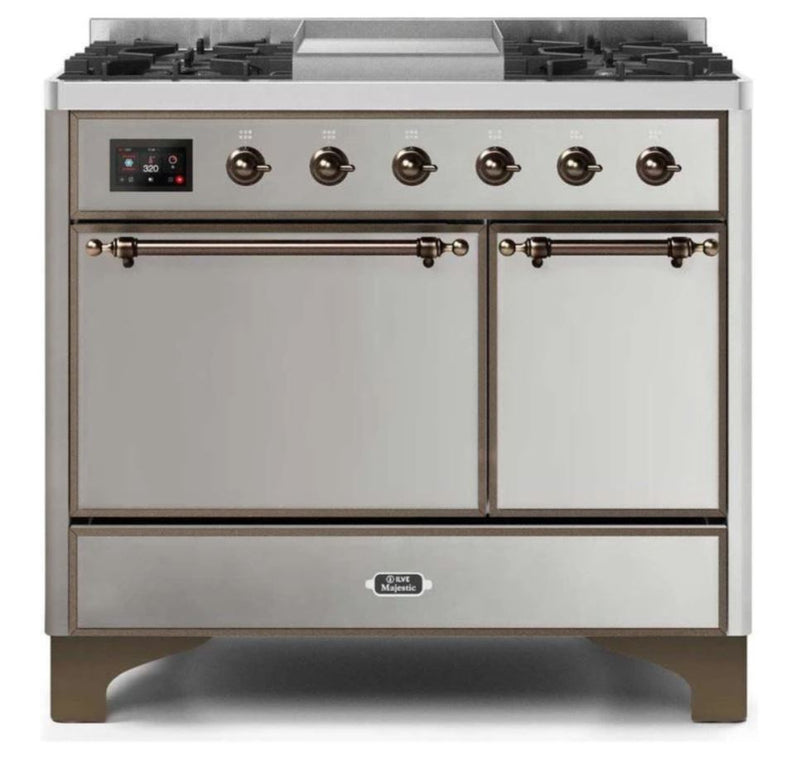 ILVE 40 Inch Majestic II Series Natural/ Propane Gas Burner and Electric Oven Range with 6 Sealed Burners (UMD10FDQNS3) - Stainless Steel with Bronze Trim