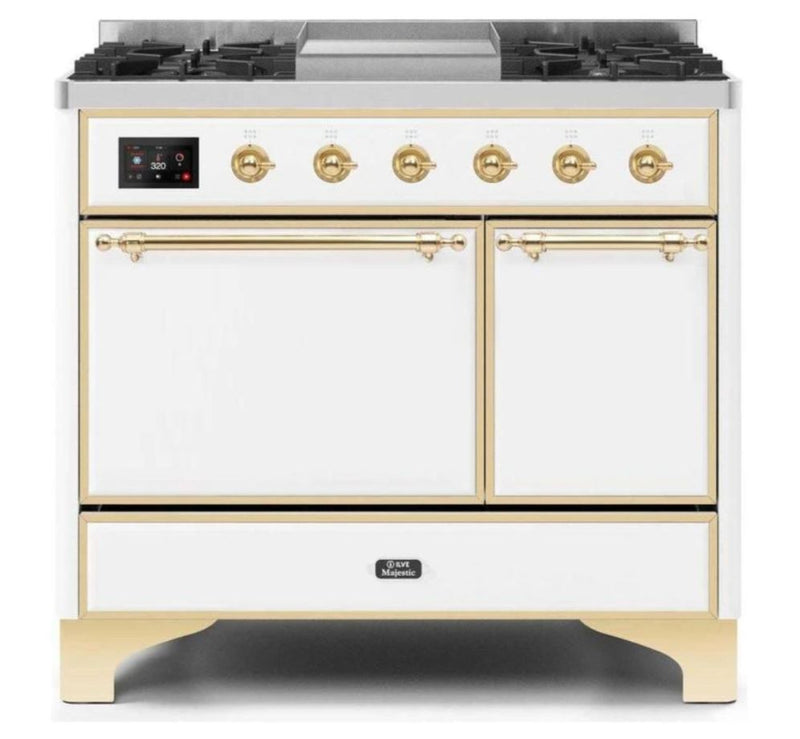 ILVE 40 Inch Majestic II Series Natural/ Propane Gas Burner and Electric Oven Range with 6 Sealed Burners (UMD10FDQNS3) - White with Brass Trim