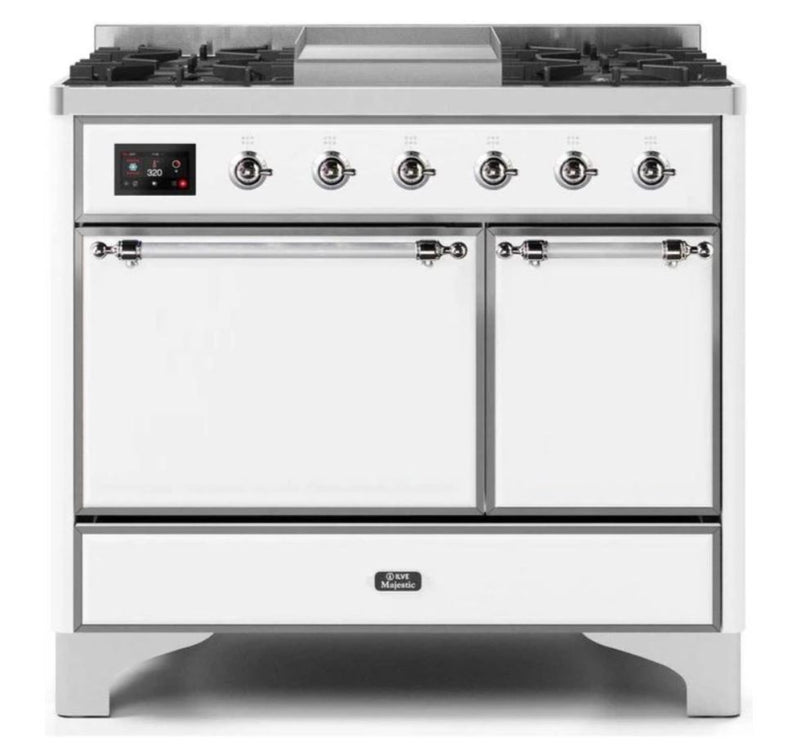 ILVE 40 Inch Majestic II Series Natural/ Propane Gas Burner and Electric Oven Range with 6 Sealed Burners (UMD10FDQNS3) - White with Chrome Trim