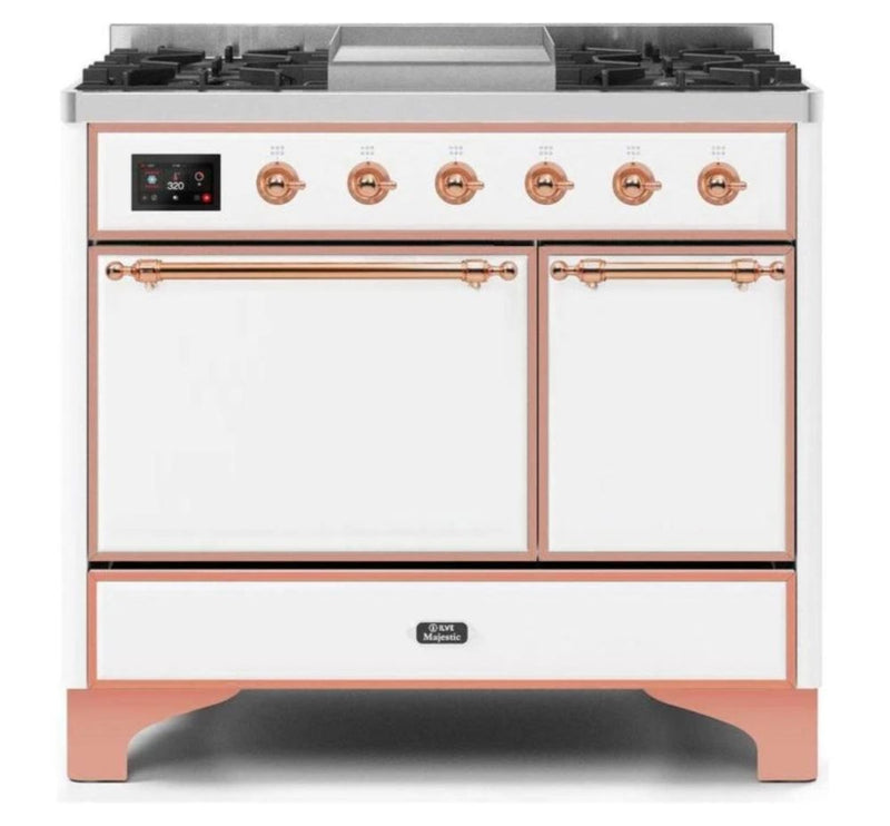 ILVE 40 Inch Majestic II Series Natural/ Propane Gas Burner and Electric Oven Range with 6 Sealed Burners (UMD10FDQNS3) - White with Copper Trim