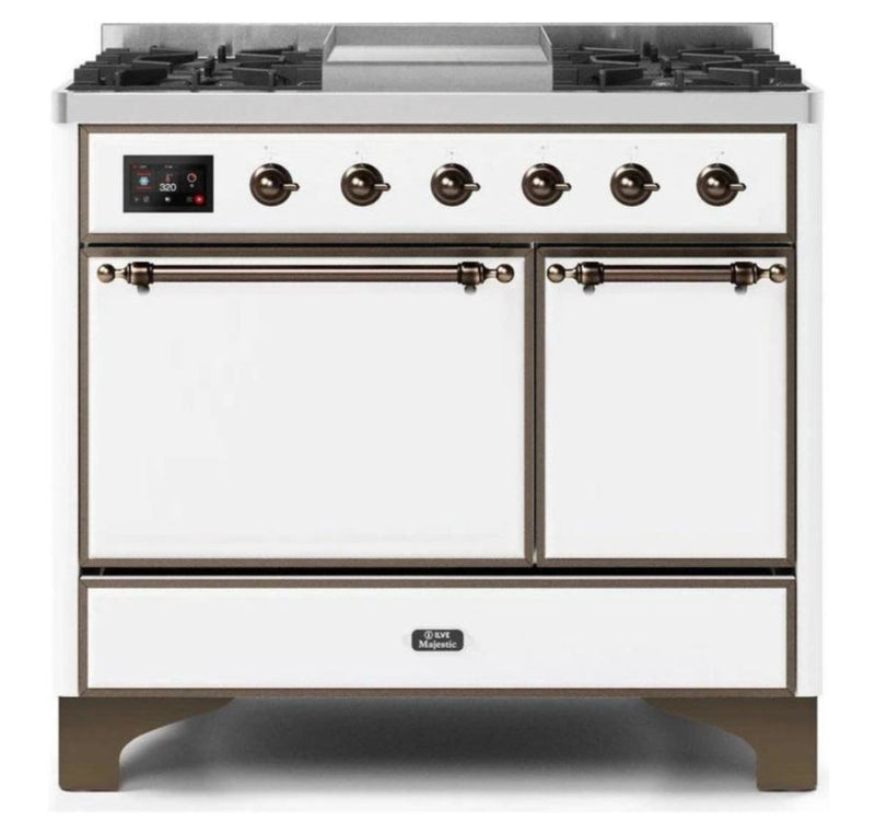 ILVE 40 Inch Majestic II Series Natural/ Propane Gas Burner and Electric Oven Range with 6 Sealed Burners (UMD10FDQNS3) - White with Bronze Trim