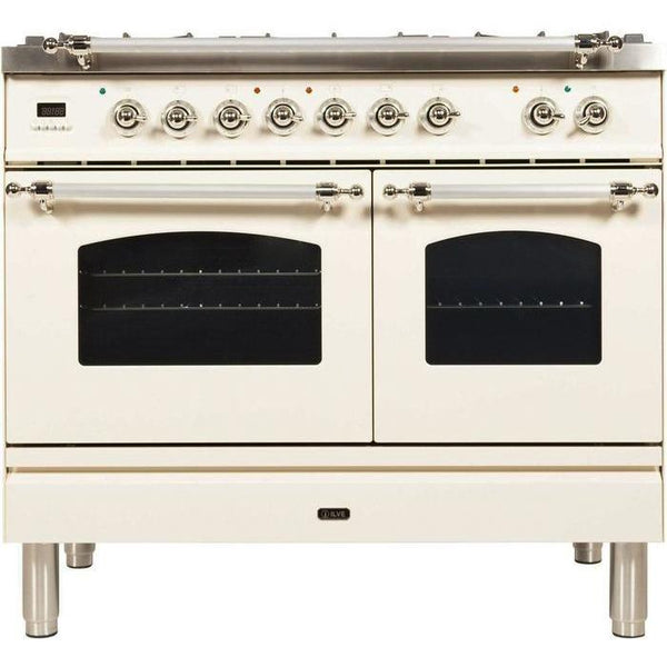 ILVE 40 Inch Nostalgie Series Freestanding Double Oven Dual Fuel Range with 5 Sealed Burners and Griddle (UPDN100FDMP)