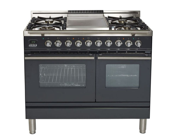 ILVE 40 Inch Professional Plus Series Freestanding Double Oven Dual Fuel Range with 5 Sealed Burners and Griddle (UPDW100FDM) - Chrome Trim