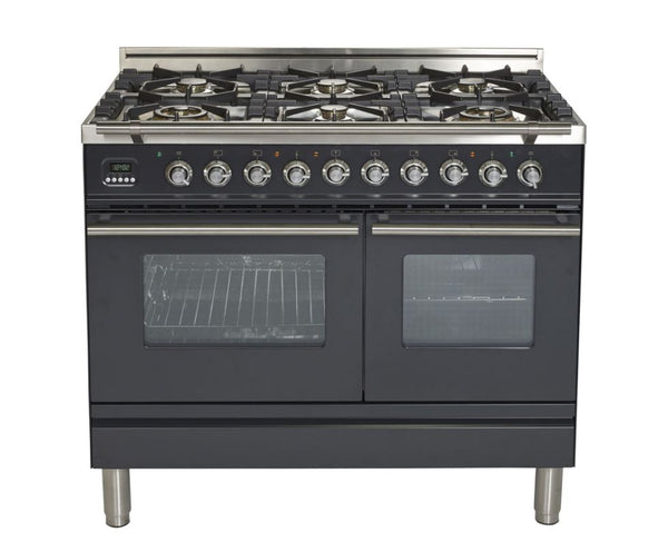 ILVE 40 Inch Professional Plus Series Freestanding Double Oven Dual Fuel Range with 6 Sealed Burners (UPDW1006D) - Chrome Trim