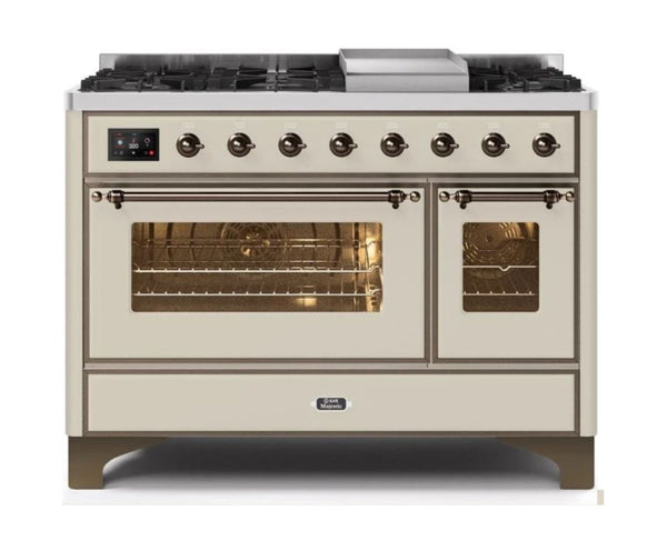 ILVE 48 Inch Majestic II Series Freestanding Dual Fuel Double Oven Range with 8 Sealed Burners, Triple Glass Cool Door, Convection Oven (UM12FDNS)
