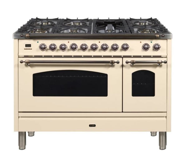 ILVE 48 Inch Nostalgie Series Freestanding Double Oven Dual Fuel Range with 7 Sealed Burners and Griddle (UPN120FDMP)