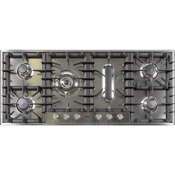ILVE 48 Inch Stainless Steel Cooktop Natural Gas/Propane - UHP125FCI/UHP125FCILP