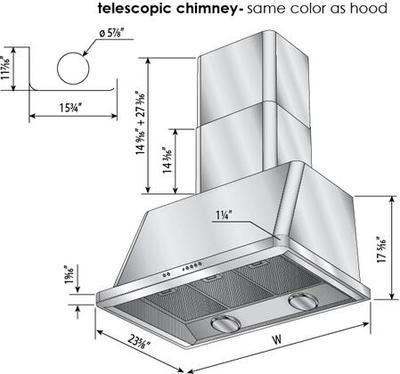 ILVE Majestic 48 Inch Wall Mount Convertible Hood (UAM120) Measurements