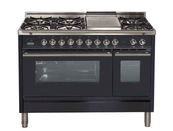 "ILVE 48"" Professional Plus Series Freestanding Double Oven Dual Fuel Range with 7 Sealed Burners (UPW120FDM) - Chrome Trim"